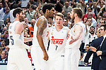 Real Madrid's player Rudy Fernandez, Thompkins, Luka Doncic and Nocioni and Barcelona's player during Liga Endesa 2015/2016 Finals 4th leg match at Barclaycard Center in Madrid. June 20, 2016. (ALTERPHOTOS/BorjaB.Hojas)