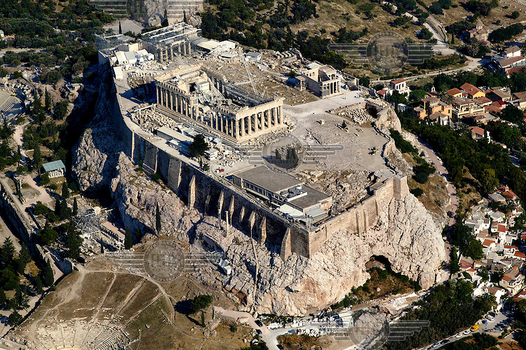 An aerial view of the 2,514 year old Parthenon atop the holy rock of Athens' ancient Acropolis. The monument was built for Goddess Athena in the 5th century BCE.