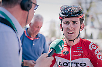 Tiesj Benoot (BEL/Lotto-Soudal) interviewed after finishing<br /> <br /> 82nd Fl&egrave;che Wallonne 2018 (1.UWT)<br /> 1 Day Race: Seraing - Huy (198km)