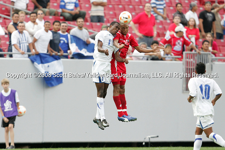 11 March 2008: Jefferson Bernardez (HON) (9) and Eduardo Jimenez (PAN) (20) challenge for the ball. The Honduras U-23 Men's National Team defeated the Panama U-23 Men's National Team 1-0 at Raymond James Stadium in Tampa, FL in a Group A game during the 2008 CONCACAF's Men's Olympic Qualifying Tournament.