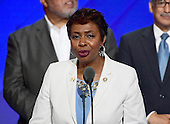 United States Representative Yvette Clarke (Democrat of New York)  makes remarks during the third session of the 2016 Democratic National Convention at the Wells Fargo Center in Philadelphia, Pennsylvania on Wednesday, July 27, 2016.<br /> Credit: Ron Sachs / CNP<br /> (RESTRICTION: NO New York or New Jersey Newspapers or newspapers within a 75 mile radius of New York City)