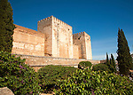 Fortified walls of the Alcazaba castle in the Alhambra complex, Granada, Spain