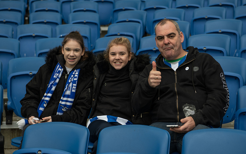 Brighton Fans<br /> <br /> Photographer David Horton/CameraSport<br /> <br /> The Premier League - Brighton and Hove Albion v Liverpool - Saturday 12th January 2019 - The Amex Stadium - Brighton<br /> <br /> World Copyright © 2018 CameraSport. All rights reserved. 43 Linden Ave. Countesthorpe. Leicester. England. LE8 5PG - Tel: +44 (0) 116 277 4147 - admin@camerasport.com - www.camerasport.com