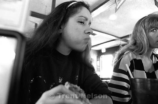Kathy Cullen and Tamara Sneddon eating lunch at Pizza Hut. The camera was set to take a picture every 30 seconds or so.<br />
