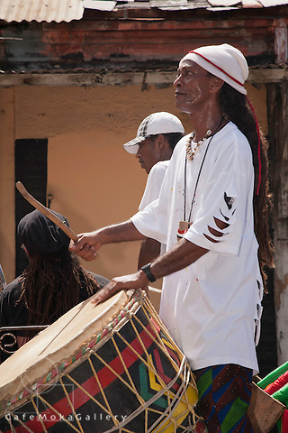 Emancipation Day parade - drummer with dreadlocks