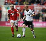 Mark Duffy of Sheffield Utd and Jason Cummings of Nottingham Forest during the Championship match at the City Ground Stadium, Nottingham. Picture date 30th September 2017. Picture credit should read: Simon Bellis/Sportimage