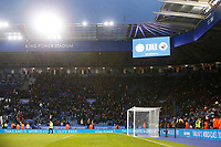 The screen shows the final scoreline of 1-1 after the final whistle of the Premier League match between Leicester City and Swansea City at the King Power Stadium, Leicester, England, UK. Saturday 03 February 2018