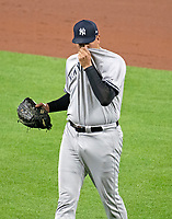 New York Yankees relief pitcher Dellin Betances (68) walks off the field after giving up a walk-off game-winning single to Baltimore Orioles second baseman Jonathan Schoop in the ninth inning at Oriole Park at Camden Yards in Baltimore, MD on Tuesday, July 10, 2018.  The Orioles won the game 6 - 5.<br /> Credit: Ron Sachs / CNP<br /> (RESTRICTION: NO New York or New Jersey Newspapers or newspapers within a 75 mile radius of New York City) Credit: Ron Sachs/MediaPunch