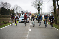 The Magnificent 7 chasing the 1 Jurgen Roelandts (BEL/Lotto-Soudal) for more than 50km's, solo up ahead<br /> <br /> 77th Gent-Wevelgem 2015