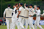 June 12th 2017, Trafalgar Road Ground, Southport, England; Specsavers County Championship Division One; Day Four; Lancashire versus Middlesex; Middlesex celebrate the first Lancashire wicket as Toby Roland-Jones has Alex Davies caught behind with the final ball before lunch; Middlesex were all out this morning and set Lancashire a target of 108 to win the match