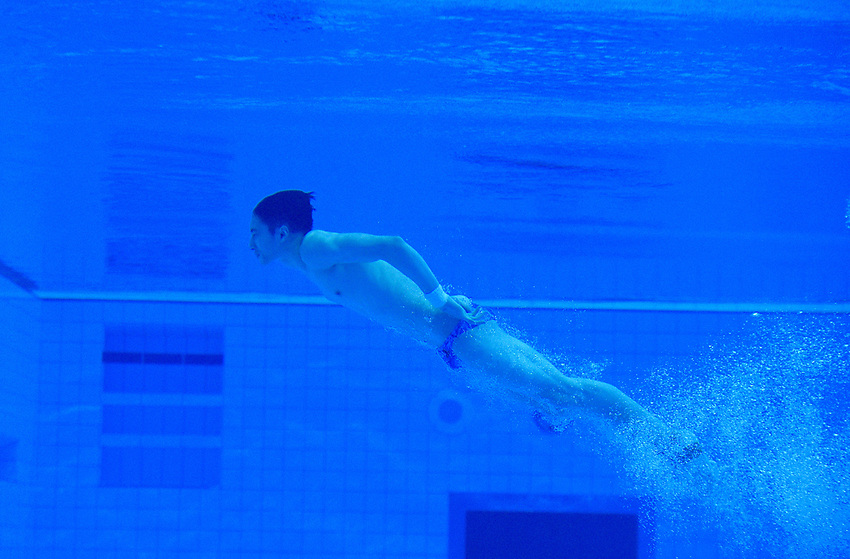 China's Hao Yang  underwater during the practice session<br /> <br /> Photographer Hannah Fountain/CameraSport<br /> <br /> FINA/CNSG Diving World Series 2019 - Day 3 - Sunday 19th May 2019 - London Aquatics Centre - Queen Elizabeth Olympic Park - London<br /> <br /> World Copyright © 2019 CameraSport. All rights reserved. 43 Linden Ave. Countesthorpe. Leicester. England. LE8 5PG - Tel: +44 (0) 116 277 4147 - admin@camerasport.com - www.camerasport.com