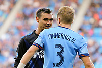 San Jose, CA - Saturday March 31, 2018: Chris Wondolowski, Anton Tinnerholm during a Major League Soccer (MLS) match between the San Jose Earthquakes and New York City FC at Avaya Stadium.