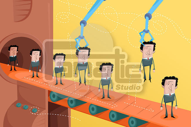 Illustrative image of candidates on conveyor belt representing employee selection