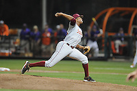 Florida State Seminoles pitcher Jameis Winston #44 delivers a pitch during a game against the Clemson Tigers at Doug Kingsmore Stadium on March 22, 2014 in Clemson, South Carolina. The Seminoles defeated the Tigers 4-3. (Tony Farlow/Four Seam Images)
