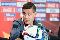 Canada's Head Coach John Herdman speaks to the media during press conference on the eve of Women's World Cup Soccer match, Thursday June 04, 2015 in Edmonton, Alberta. (Mo Khursheed/TFV Media via AP Images)