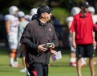STANFORD, CA - MARCH 7, 2014--Stanford  Special Teams Coordinator Pete Alamar, during Open Football Practices at Stanford University.