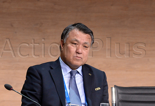 FIFA Executive Committee Member Kohzo Tashima is seen on the podium during the Extraordinary FIFA Congress with the president's election at the Hallenstadion in Zurich, Switzerland, 26 February 2016.