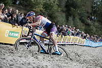 leader Mathieu van der Poel (NED/Beobank-Corendon) plowing through the sand.<br /> <br /> cx Telenet Superprestige Gieten 2017 (NED)