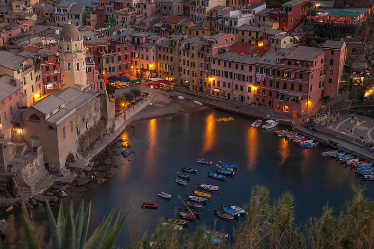 Vernazza's Small Waterfront and Harbor at Dusk