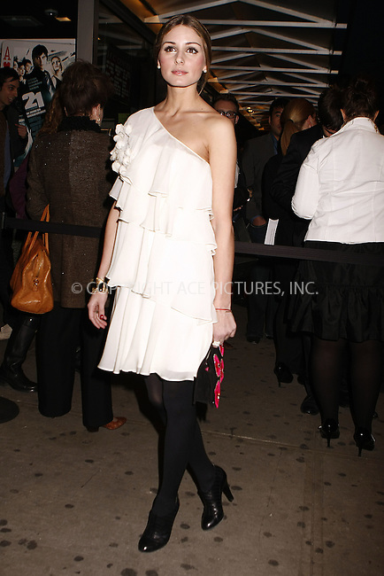 "WWW.ACEPIXS.COM . . . . .  ....March 26 2008, New York City....Socialite Olivia Palermo arriving at the Screening of ""21"" hosted by The Cinema Society and Calvin Klein Jeans at the IFC Center in downtown Manhattan....Please byline: AJ Sokalner - ACEPIXS.COM..... *** ***..Ace Pictures, Inc:  ..te: (646) 769 0430..e-mail: info@acepixs.com..web: http://www.acepixs.com"