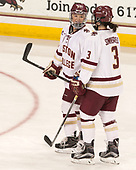 Bridget McCarthy (BC - 21), Serena Sommerfield (BC - 3) - The number one seeded Boston College Eagles defeated the eight seeded Merrimack College Warriors 1-0 to sweep their Hockey East quarterfinal series on Friday, February 24, 2017, at Kelley Rink in Conte Forum in Chestnut Hill, Massachusetts.The number one seeded Boston College Eagles defeated the eight seeded Merrimack College Warriors 1-0 to sweep their Hockey East quarterfinal series on Friday, February 24, 2017, at Kelley Rink in Conte Forum in Chestnut Hill, Massachusetts.