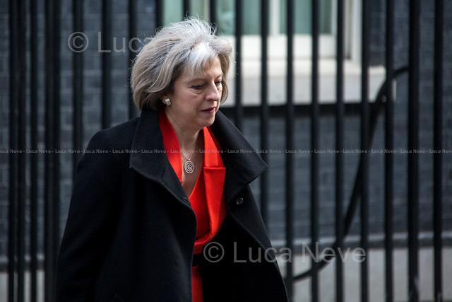 Theresa May MP (Secretary of State for the Home Department).<br /> <br /> London, 18/03/2015. British Government's weekly Cabinet meeting held at 10 Downing Street before the Chancellor's announcement of the Budget for the fiscal year 2015.