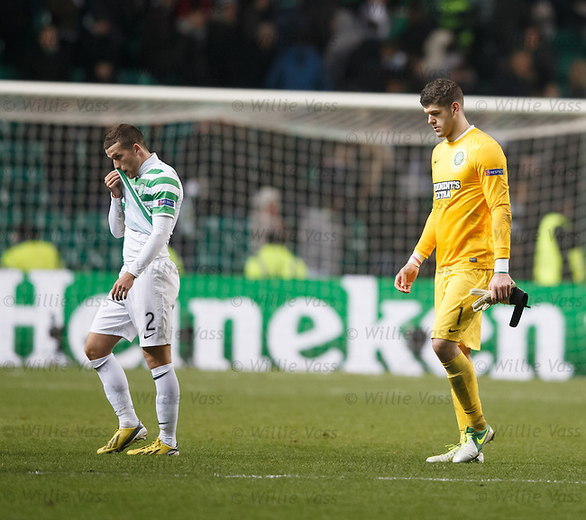 Adam Matthews and Fraser Forster after the final whistle