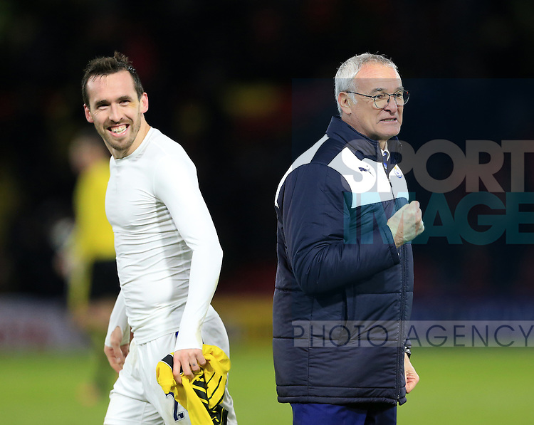 Leicester City's Christian Fuchs celebrates at the final whistle with Claudio Ranieri<br /> <br /> - English Premier League - Watford vs Leicester City  - Vicarage Road - London - England - 5th March 2016 - Pic David Klein/Sportimage