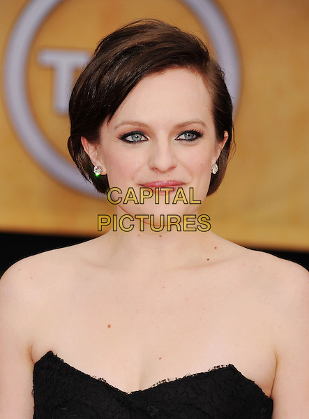Elisabeth Moss.Arrivals at the 19th Annual Screen Actors Guild Awards at the Shrine Auditorium in Los Angeles, California, USA..27th January 2013.SAG SAGs headshot portrait strapless black lace eyeliner make-up.CAP/ROT/TM.©Tony Michaels/Roth Stock/Capital Pictures