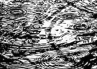 Vibrations from rain ripple through water.