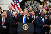 United States President Donald J. Trump speaks on the South Lawn of the White House surrounded by United States Vice President Mike Pence and Republican members of Congress after the United States Congress passed the Republican sponsored tax reform bill, the 'Tax Cuts and Jobs Act' in Washington, D.C. on December 20th, 2017. Credit: Alex Edelman / CNP