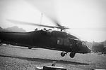 A Blackhawk helicopter takes off from Masum Ghar Forward Operating Base in Panjwayi district, Kandahar to conduct a battlefield reconnaissance flight, 27 April 2013. (John D McHugh)