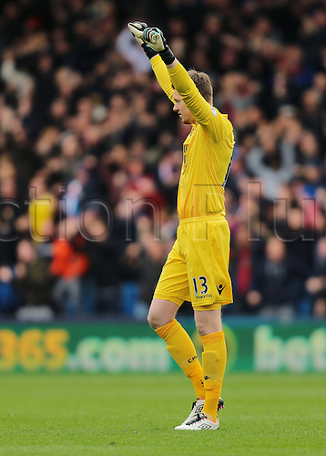09.04.2016. Selhurst Park, London, England. Barclays Premier League. Crystal Palace versus Norwich. Crystal Palace Goalkeeper Wayne Hennessey celebrates after Crystal Palace go 1-0 up with the goal from Jason Puncheon