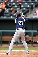 Pensacola Blue Wahoos outfielder Yorman Rodriguez (21) at bat during a game against the Jacksonville Suns on April 20, 2014 at Bragan Field in Jacksonville, Florida.  Jacksonville defeated Pensacola 5-4.  (Mike Janes/Four Seam Images)