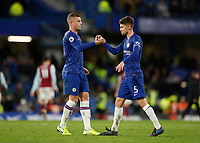 11th January 2020; Stamford Bridge, London, England; English Premier League Football, Chelsea versus Burnley; Ross Barkley of Chelsea congratulating Jorginho of Chelsea after full time - Strictly Editorial Use Only. No use with unauthorized audio, video, data, fixture lists, club/league logos or 'live' services. Online in-match use limited to 120 images, no video emulation. No use in betting, games or single club/league/player publications