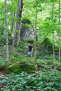 Man in forest near large boulders in Kinsman Notch of Woodstock, New Hampshire during the summer months.
