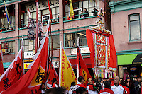 Marchers carry colourful banners in the 41st annual Chinese New Year Parade in Chinatown, Vancouver, BC, Canada. The 2014 celebrations mark the beginning of the Year of the Horse in the traditional Chinese lunar calendar.