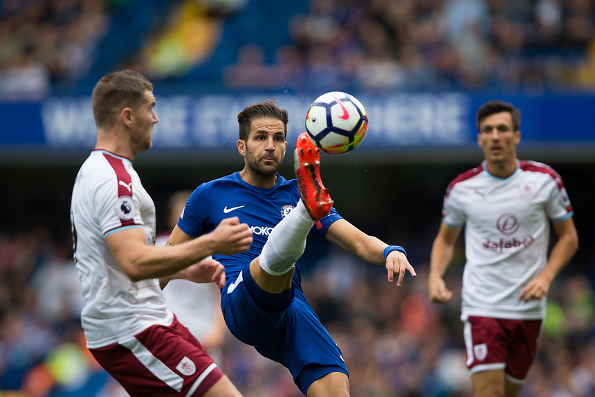 Chelsea's Cesc Fabregas in action<br /> <br /> Photographer Craig Mercer/CameraSport<br /> <br /> The Premier League - Chelsea v Burnley - Saturday August 12th 2017 - Stamford Bridge - London<br /> <br /> World Copyright &copy; 2017 CameraSport. All rights reserved. 43 Linden Ave. Countesthorpe. Leicester. England. LE8 5PG - Tel: +44 (0) 116 277 4147 - admin@camerasport.com - www.camerasport.com