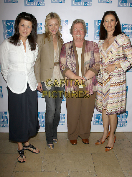 DAPHNE ZUNICA, PORTIA DE ROSSI, LORIE L JEAN & MIMI ROGERS.The LA Gay & Lesbian Center's Breakfast At Barney's held At Barney's Greengrass, Beverly Hills, California, USA, 4th May 2010..full length jeans green khaki jacket blazer beige top white shirt long black skirt sandals print missoni coat zig zag patterned pattern pointy shoes brown tan matching dress pink multi-coloured .CAP/ADM/KB.©Kevan Brooks/AdMedia/Capital Pictures.