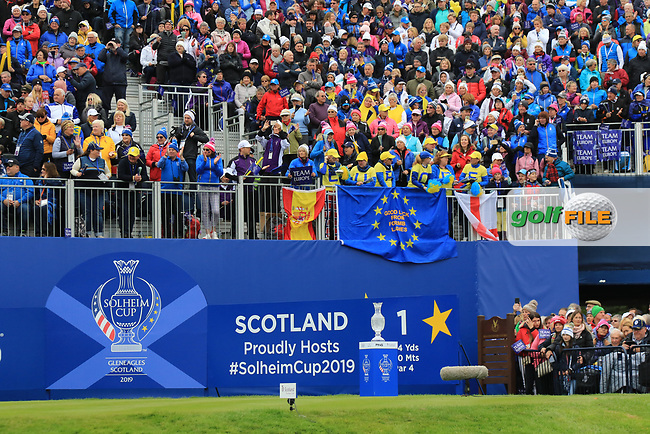 Supporters at the 1st tee during Day 3 Singles at the Solheim Cup 2019, Gleneagles Golf CLub, Auchterarder, Perthshire, Scotland. 15/09/2019.<br /> Picture Thos Caffrey / Golffile.ie<br /> <br /> All photo usage must carry mandatory copyright credit (© Golffile   Thos Caffrey)