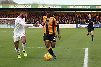 Medy Elito of Cambridge United under pressure from Janoi Donacien of Accrington Stanley during Cambridge United vs Accrington Stanley, Sky Bet EFL League 2 Football at the Cambs Glass Stadium on 11th November 2017