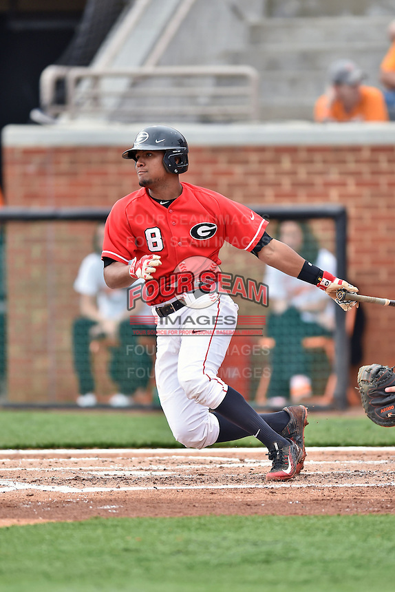 Georgia Bulldogs shortstop Nick King (8) swings at a pitch during a game against the Tennessee Volunteers at Lindsey Nelson Stadium March 21, 2015 in Knoxville, Tennessee. The Bulldogs defeated the Volunteers 12-7. (Tony Farlow/Four Seam Images)