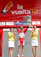 Joaquin Rodriguez with the red jersey of leader after the stage of La Vuelta 2012 between Ponteareas and Sanxenxo.August 28,2012. (ALTERPHOTOS/Acero) /NortePhoto.com<br /> <br /> **CREDITO*OBLIGATORIO** <br /> *No*Venta*A*Terceros*<br /> *No*Sale*So*third*<br /> *** No*Se*Permite*Hacer*Archivo**<br /> *No*Sale*So*third*