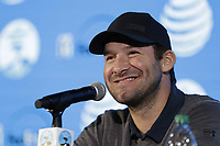 Former NFL Dallas Cowboys quarterback and now CBS commentator Tony Romo press conference during Wednesday's Pracitce Day of the 2018 AT&amp;T Pebble Beach Pro-Am, held over 3 courses Pebble Beach, Spyglass Hill and Monterey, California, USA. 7th February 2018.<br /> Picture: Eoin Clarke | Golffile<br /> <br /> <br /> All photos usage must carry mandatory copyright credit (&copy; Golffile | Eoin Clarke)