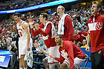Wisconsin Badgers celebrate during  a regional semifinal NCAA college basketball tournament game against the Baylor Bears Thursday, March 27, 2014 in Anaheim, California. The Badgers won 69-52. (Photo by David Stluka)