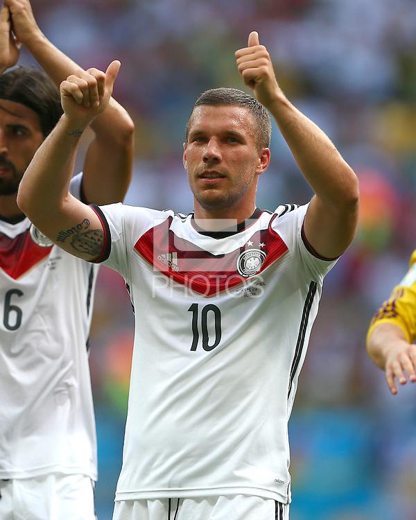 Lukas Podolski of Germany celebrates at full time