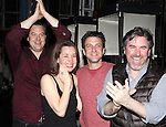 Tad Wilson, Michelle Duffy, Raul Esparza & Danny Stiles.attending the Broadway Opening Night Gypsy Robe Ceremony honoring  Dennis Stowe in 'LEAP OF FAITH' on 4/26/2012 at the St. James Theatre in New York City.