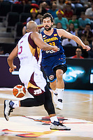 Spain's basketball player Sergio Llull and Venezuela's basketball player Gregory Vargas during the  match of the preparation for the Rio Olympic Game at Madrid Arena. July 23, 2016. (ALTERPHOTOS/BorjaB.Hojas) /NORTEPHOTO.COM
