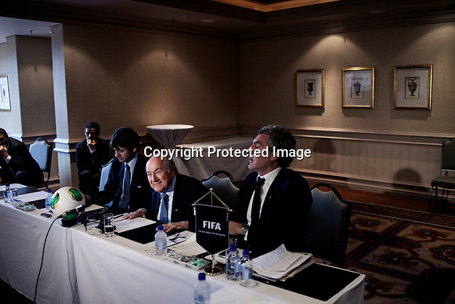 JOHANNESBURG, SOUTH AFRICA - FEBRUARY 10: FIFA president Sepp Blatter during a press meeting with African journalists on February 10, 2013 at Michelangelo hotel in Sandton, Johannesburg, South Africa. Mr. Blatter visited South Africa to watch the final game of the CAP, Africa's Cup of Nations between Nigeria and Burkina Faso. (Photo by Per-Anders Pettersson)