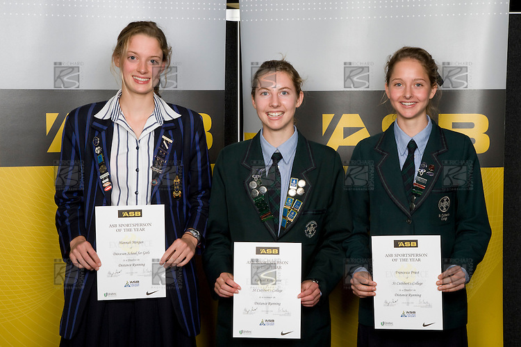 Girls Distance Running finalists Hannah Morgan, Rachael Kingstone & Franesca Priest. ASB College Sport Young Sportperson of the Year Awards 2008 held at Eden Park, Auckland, on Thursday November 13th, 2008.